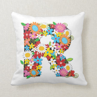 Whimsical Spring Flowers Garden Monog - Customized Throw Cushions