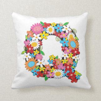 Whimsical Spring Flowers Garden Monogram Pillow Cushion