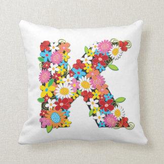 Whimsical Spring Flowers Garden Monogram Pillow Cushions