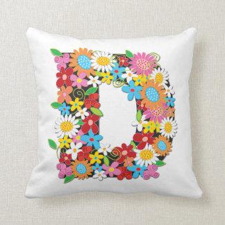 Whimsical Spring Flowers Garden Monogram Pillow Throw Cushion