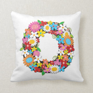 Whimsical Spring Flowers Garden Monogram Pillow Throw Cushions