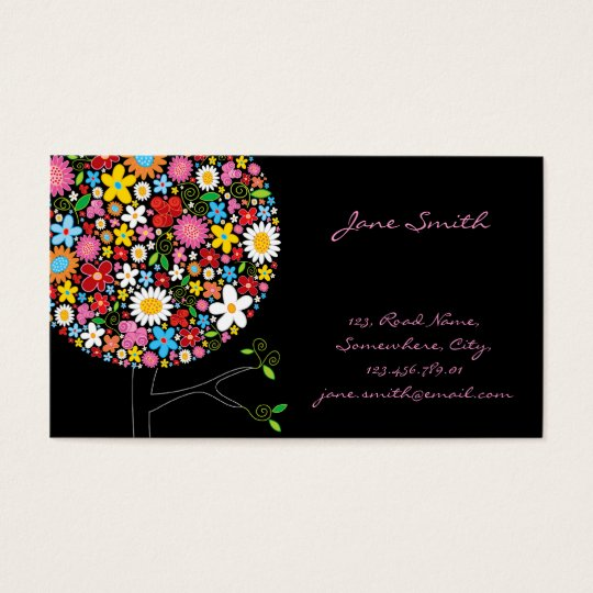 Whimsical Spring Flowers Pop Tree Business Card