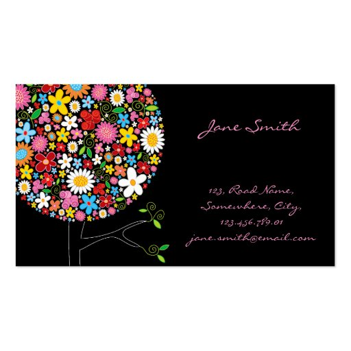 Whimsical Spring Flowers Pop Tree Businesscard Pack Of Standard Business Cards