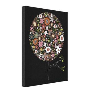 Whimsical Spring Flowers Pop Tree Nursery Wall Art Stretched Canvas Print