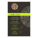 Whimsical Spring Flowers Pop Tree Wedding Menu Full Color Flyer