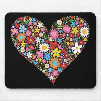 Whimsical Spring Flowers Valentine Cute Heart Love Mouse Mat