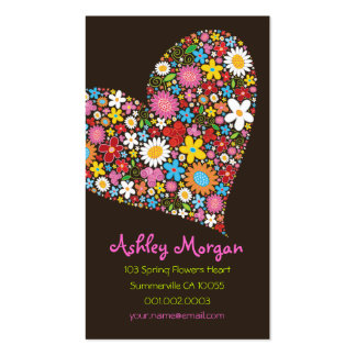 Whimsical Spring Flowers Valentine Heart Love Business Card