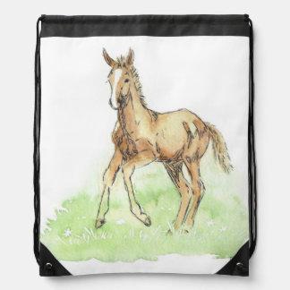 Whimsical Spring Horse Foal Drawstring Backpacks