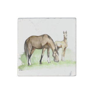 Whimsical Spring Horse Foal Stone Magnet
