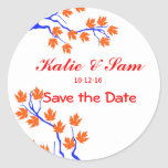 Whimsical Spring Tree Save the Date Round Sticker