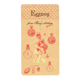 Whimsical steampunk personalised homemade eggnog shipping label