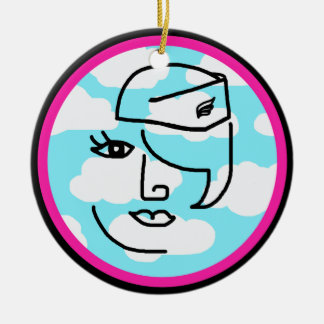 Whimsical Stewardess Design Hot Pink & Black Christmas Ornament