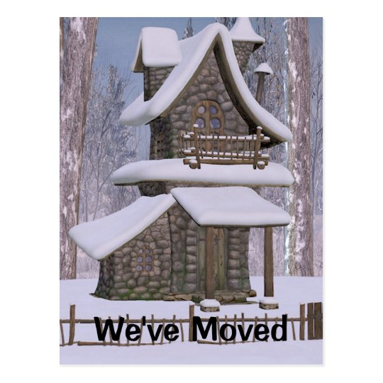 Whimsical Stone House Change of Address Post Card