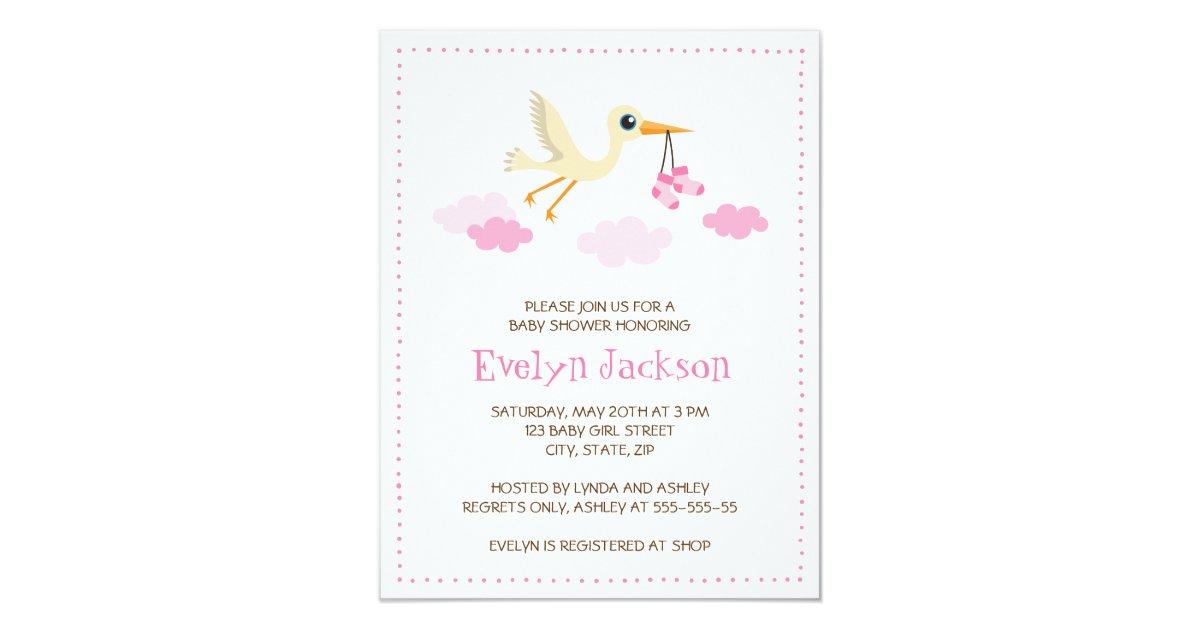 Whimsical stork baby shower invitation for girls | Zazzle.co.uk