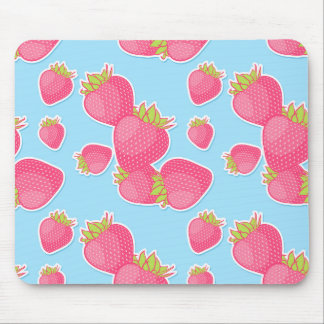 Whimsical Strawberry Pattern on Blue Mouse Mat