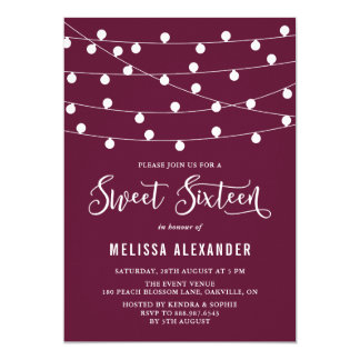Whimsical String Lights Purple Sweet Sixteen Party Card