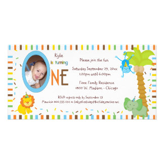 Whimsical Stripes And Animals First Birthday Personalized Photo Card