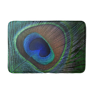Whimsical Stylish Pretty Peacock Feather Pattern Bath Mat