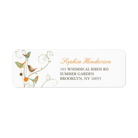 Whimsical Summer Birds & Swirls Address Labels