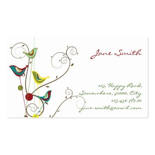 Whimsical Summer Birds Swirls Modern Nature Vines Business Card