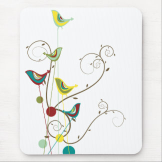 Whimsical Summer Birds Swirls Modern Nature Vines Mouse Mat