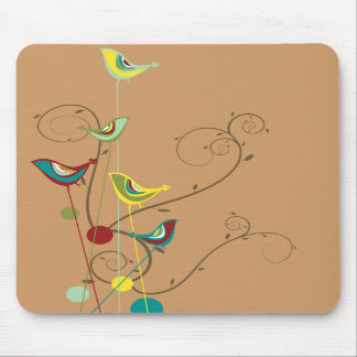 Whimsical Summer Birds Swirls Modern Nature Vines Mouse Pads