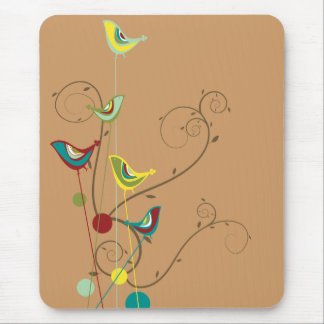Whimsical Summer Birds Swirls Modern Nature Vines Mouse Pad