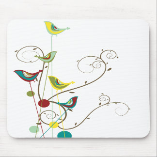 Whimsical Summer Birds Swirls Modern Nature Vines Mousepads