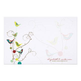 Whimsical Summer Birds Swirls Modern Nature Vines Stationery