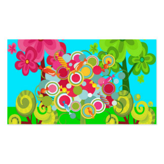 Whimsical Summer Lollipop Tree Colorful Forest Business Card Templates