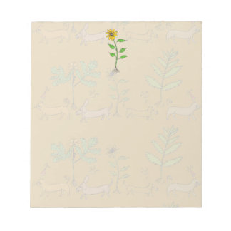 Whimsical Sunflower Notepad w/Plants & Animals