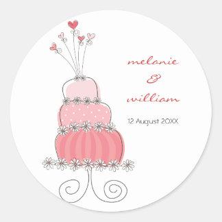 Whimsical Sweet Pink Chic Wedding Cake Sticker