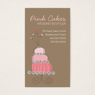 Whimsical Sweet Pink Wedding Birthday Fun Cake Business Card
