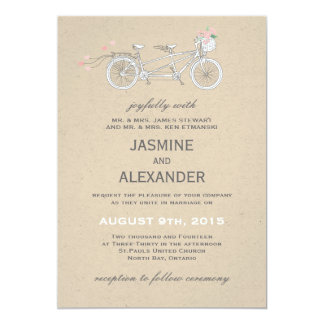 Whimsical Tandem Bicycle - Wedding Invitation