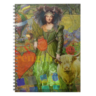 Whimsical Taurus Woman Celestial Collage Fantasy Note Books