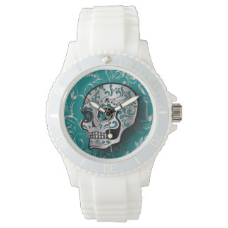 Whimsical Teal and Silver Sugar Skull Watch