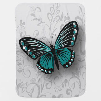 Whimsical Teal Butterfly on Gray Floral Baby Blanket
