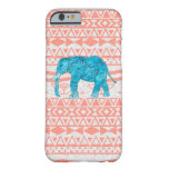 Whimsical Teal Paisley Elephant Pink Aztec Pattern Barely There iPhone 6 Case