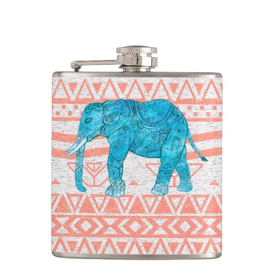 Whimsical Teal Paisley Elephant Pink Aztec Pattern Hip
