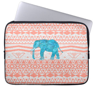 Whimsical Teal Paisley Elephant Pink Aztec Pattern Laptop Sleeve