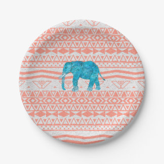 Whimsical Teal Paisley Elephant Pink Aztec Pattern 7 Inch Paper Plate