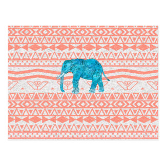 Whimsical Teal Paisley Elephant Pink Aztec Pattern Postcard