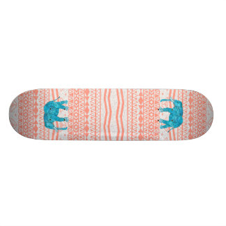 Whimsical Teal Paisley Elephant Pink Aztec Pattern Skate Board Deck