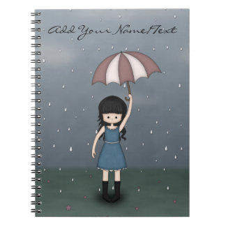 Whimsical Teen Girl Standing in the Rain Notebook