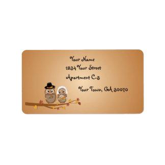 Whimsical Thanksgiving Owls Address Label
