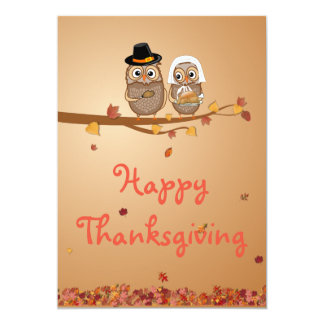 Whimsical Thanksgiving Owls Card