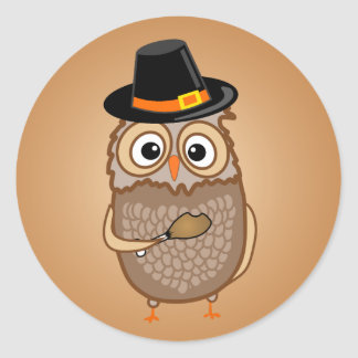 Whimsical Thanksgiving Owls Classic Round Sticker