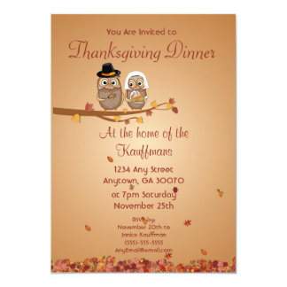 Whimsical Thanksgiving Owls Invitation Card