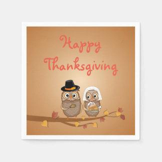 Whimsical Thanksgiving Owls Paper Napkin