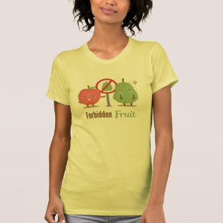 Whimsical, The Forbidden Fruit, Apple and Durian T Shirts